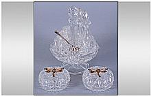 Crystal Cruet Set With Silver Spoon. Together with