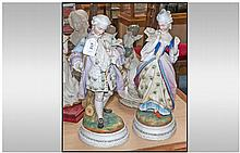 Late 19th Century French Pair Of Bisque Decorated