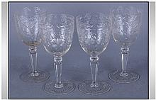 Set of Four Wine Glasses, etched decoration to the