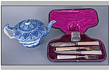 Victorian Cased Plated Cutlery Set with a bone