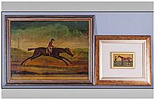 Two Crystoleums both depicting A Jockey Riding a