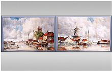 Van Staaten Pair Of Watercolours. Depicting Dutch