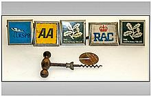 Collection of Five Bumper Car Badges Comprising