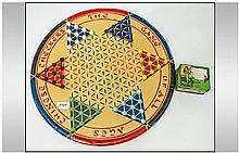 Chinese Checkers Game & Pieces in metal tin. No