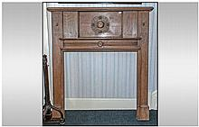 Jacobean Style Oak Fire Place. Circa 1930's. With