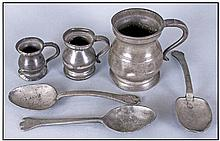 Collection Of Pewter. Comprising three tablespoons
