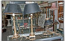 Pair Of Contemporary Brass Table Lamps. Black