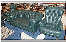 A Traditional Style Green Leather 3 piece lounge