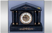 French 19th Century Black Slate Mantel Clock, 8