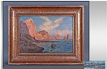 Early 20th Century Oil On Board. Depicting the