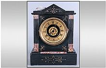 French Late 19th Century Black Slate Mantel Clock,