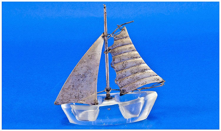 Silver Sails & Glass Bottomed Model Sailing Ship