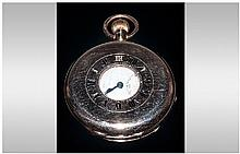 A 9ct Gold Cased Demi - Hunter Top Wind Pocket Watch. Hallmark London 1920. 98.1 grams. Excellent Condition and Working Order.