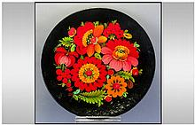 Russian 20th Century Hand Painted Paper Mache Cabinet Plate, Floral Stillife. Diameter 11 Inches. Excellent Condition.