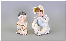 French - Hand Painted Early 20th Century Baby Bisque Doll Figures ( 2 ) In Total. Height 6.25 Inches. Both Figures are In Good Condition.