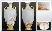 Royal Worcester Small Ovoid Vase, hand painted and signed G. Johnson, with a pair of flamingos amongst reeds at the water's edge, on a powder blue gro