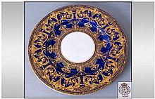 Royal Worcester Hand Painted Cabinet Plate decorated in raised acid gold on heavy blue cobalt finish. 10.75'' in diameter. Mint condition.