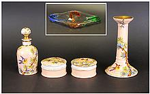 Ladies Ceramic Dressing Table Set, bird and floral decoration on peach ground. Together with Swirl coloured free form dish and blue tall vase 14 inche