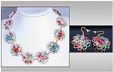 Butler & Wilson Style Multicolour Floral Necklace and Earrings, artisan made gilt wirework 'flowers' threaded with teal blue, ruby red, emerald green,