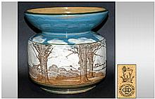 Royal Doulton Early Series Ware - Spittoon Shaped Vase ' Woodland ' Panoramic New Scenes, D3040. Height 7.25 Inches, Diameter 7.5 Inches.
