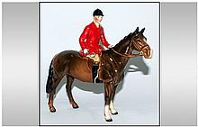 Beswick Horse and Rider Figure ' Huntsman ' Red Jacket, Model Num.1501. Designer A. Gredington. Height 8.25 Inches.