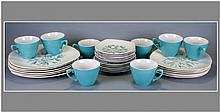 30 Piece Cassandra Pattern Dinner Service, fashion shape, Abstract studio Litho Circa 1957, 6 10'' plates, 6 9'' plates, 6 6'' plates & 6 cups & sauce