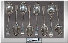 Peter & William Bateman Set Of Eight Large Table Spoons Hallmark London 1813. Makers mark PB-WB. Each spoon 9'' in length.  17ozs.