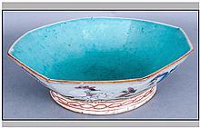 19th Century Famille Rose Hexagonal Bowl, 8'' in diameter.