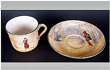 Royal Doulton Series Ware Cup and Saucer 'Shakespeare' Series, the cup showing Anne Page, the saucer Rosalind.