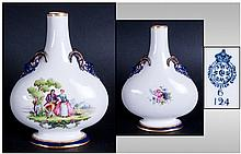 Royal Worcester Hand Finished Two Mask Handle Flask Vase. Date 1899. Unsigned, Stand 6 Inches High.