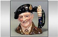 Royal Doulton Ltd Edition and Numbered Character Jug No.2430 ' Field Marshall Montgomery ' D.6908. Issued 1992. 1st Quality and Mint Condition.