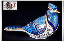 Royal Crown Derby Paperweight 'Blue Jay' Date 1999. Gold stopper, 4'' in height. 1st quality & mint condition. Boxed.
