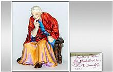Royal Worcester Early Figure ' Fortune Teller ' Purple and Orange Dress, Orange Red Shawl. Modelled by F. Doughty. c.1933. Model No.2924. Height 6 Inc