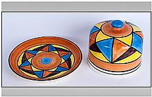 Lorna Bailey Style Handpainted Cheese Dish & Cover 'Abstract' Pattern. Unmarked to base. 5.5'' in height, 8'' in diameter. Excellent condition,