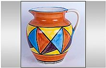 Lorna Bailey Style Handpainted Jug, 'Abstract Pattern' unmarked to base. 7.25'' in height. Excellent condition.