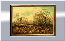 W Reeves Signed Oil on Board, Country Landscape in gilt frame. 30 by 28 inches.