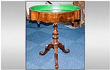 A French Walnut Antique Jardiniere Stand Table with an oval shaped top and metal lined. On a turned tripod base. 32 by 21 inches.
