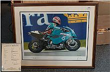 Dave Foord Limited Edition Framed Signed Print 'Back On Track' Carl Fogarty Riding The Foggy Petronas Racing FP1 At It's First Public Outing. Brands H