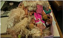 Box of Assorted Vintage Barbie Dolls and Clothes Accessories.