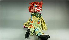 Clown Hand Puppet, plastic composition head with googly eyes and opening and closing mouth, worked by a metal and string feature on the wooden post, a