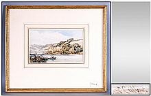 William Callow R.W.S 1812-1908 River Scene Watercolour 5.5x9'' Signed