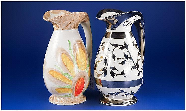 Two Myott Hand Painted Jugs, comprising old silver