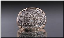 9ct Gold Diamond Dress Ring, Set With A Cluster Of