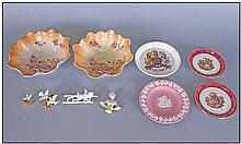 Collection Of Small China Items. Comprising bisque