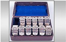 An Unusual Boxed Set Of Victorian Silver Plated