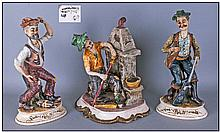 Three Capo Di Monte Figures Including Hunter with