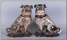 Pair Of Antique Staffordshire Pottery Pug Dogs Of