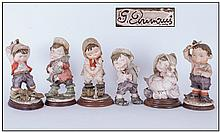 Italian Set Of Six Comical Children Figure.