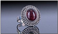 Hessonite Garnet Hand Made Silver Ring, 6.8cts of