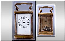 English Key Wind 1920's Brass Carriage Clock With